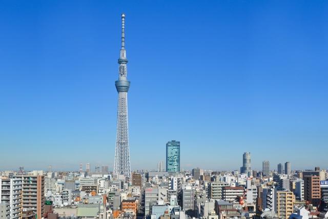 錦糸町-錦糸町から見る東京スカイツリーと街並